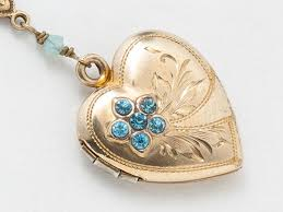vintage heart locket gold filled locket heart locket necklace with blue topaz leaf engraving blue opal