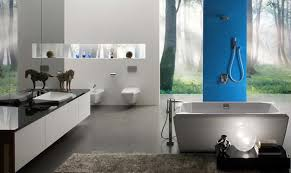 blue bathroom colors, blue wall paint and bathroom accessories