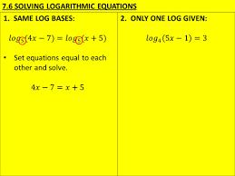 9 7 6 solving logarithmic equations