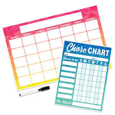 Magnetic Chart Paper Geo Abstract Chore Chart Calendar Set Magnetic