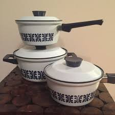 cathrineholm of norway vtg enamel cookware lot never been used mid century white blue