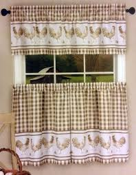 Kitchen Curtains With Rooster Designs 57 X 30 Set Rooster By Achim 57 X 36 Swag Kitchen Curtains