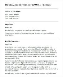 Medical Receptionist Resume Delectable 28 Medical Receptionist Resume Templates Doc Free Premium Free