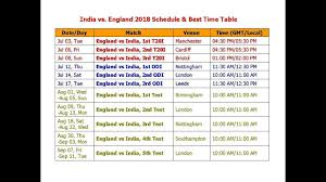 India Vs England 2018 Schedule Best Time Table 3 T20 3 Odi 5 Test