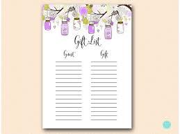 Printable Bridal Shower Gift List Template Purple Gift List Bridal Shower Gift List Baby Shower Gift