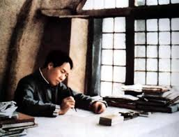 the yan an soviet mao zedong writing in his office during the yan an period