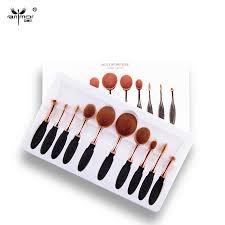 new arrival 10pcs set tooth brush shape oval makeup brush set multipurpose professional foundation powder