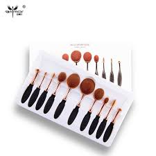 kits mac mac new arrival 10pcs set tooth brush shape oval makeup brush set multipurpose professional foundation powder