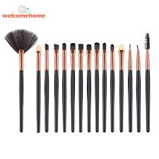 15pcs set wood handle eye shadow powder makeup brushes kit cosmetic tool intl