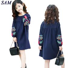 <b>Girls</b> cute embroidered long sleeves <b>dress 2019 autumn</b> new large ...