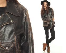 distressed leather jacket black leather biker 70s er coat short motorcycle 1970s vintage women hipster oversized retro men small medium