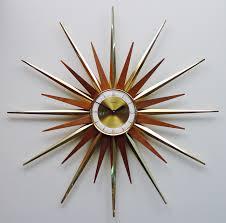 Mid Century Wall Decor Interior Decor Mid Century Modern Starburst Wall Clock For Modern
