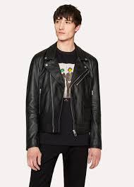 paul smith men s heavy grained leather asymmetric zip biker jacket