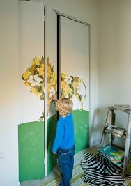 Home Interior Ultra Modern Room With Mirrored Closet Doors Idea