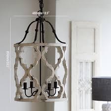 vintage distressed white carved wood 4 light lantern farmhouse chandelier light