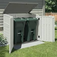 garbage can storage outside garbage can holder for outside also resin shed also white painted storage