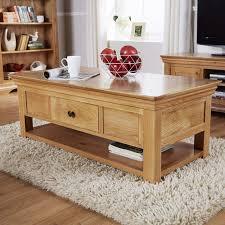 breton solid oak 2 drawer coffee table with shelf