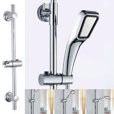 adjule chrome bathroom shower head holder riser rail bracket slider bar kit