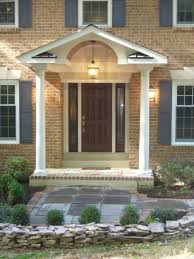 ... Charming Ideas To Design Beautiful Front Porch : Lovely Front Porch  Design With Cream Brick Exterior ...