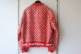 used louis vuitton x supreme louis vuitton x シュプリーム leatherette jacket leather baseball jacket red 54 rare size