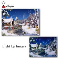 Canvas Christmas Prints With Led Lights Us 14 39 28 Off Led Canvas Printing Festive Snowman Christmas Tree Picture Illuminated Canvas Paintings Light Up Posters And Print Holiday Gift In