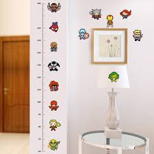 Cartoon Movie Height Measure Chart Wall Stickers For Kids Rooms Avengers Wall Decals Art For Baby Nursery Home Decoration Poster Wall Stickers Wall