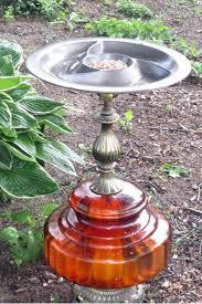 diy vintage lamp bird bath