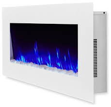 dinatale 50 wall mounted electric fireplace white