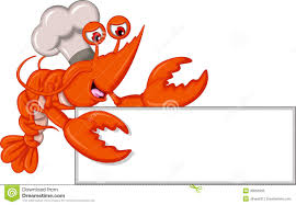 Cartoon Chef Lobster With Blank Sign ...