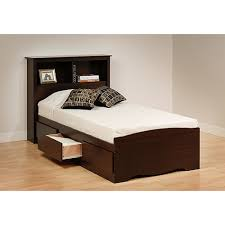 Prepac Edenvale Twin Platform Storage Bed with Headboard, Espresso ...