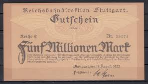 5 Mio Mark 18 Aug 1923 Baden Württemberg Stuttgart Reichsbahndirektion Fast Gem Unc
