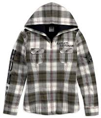96071-13VW - Harley-Davidson® Womens Quilted Flannel Hooded ... & Harley-Davidson® Womens Quilted Flannel Hooded Convertible Sleeve Plaid  Long Sleeve Shirt Jacket - Barnett Harley-Davidson® FOR JEN Adamdwight.com