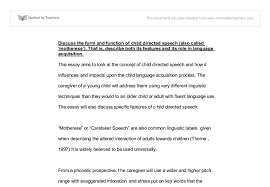 the form and function of child directed speech a level english document image preview