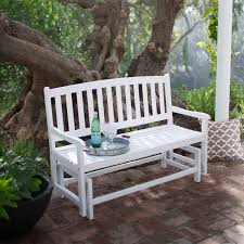 A 4Ft Outdoor Patio Glider Chair Loveseat Bench In White Wood Finish