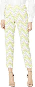 Krazy Larry Womens Pull On Pique Ankle Pants Pink Chevron 16 28