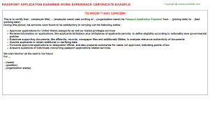 Passport Work Experience Certificates Experience Letters Templates