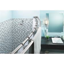 moen 60 in chrome curved adjule double shower curtain rod lowe s canada