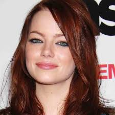 emma stone red hair navy eyeliner