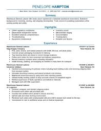 General Warehouse Worker Resume Sample Free Download Eager World