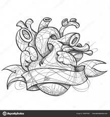 Heart Tattoo Sketch Hand Drawing Style векторное изображение