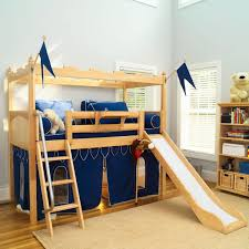 bedroom: Marvelous Fun Bunk Beds With Sweet Slide Beside Wood Stair On Nice  Carpet Plus