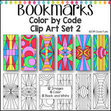 Design Bookmarks Color By Code Clip Art Designs Bookmarks Set 2