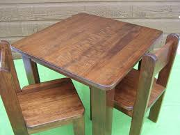 good teak wood children table and chair sets with square shaped playing table and a pair of chairs