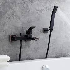 modern 1 handle antique black wall mount tub filler faucet with flexible hand shower solid brass bathtub faucets bath faucets
