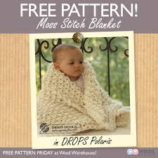 Drops Design Baby Blanket This Gorgeous Moss Stitch Blanket In Drops Polaris Super