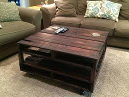 ... Coffee Table, Inspiring Dark Brown Square Rustic Wood Pallet Coffee  Table With Storage Idea Which ...