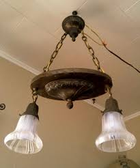 Working Antique Vintage 2 Light Hanging Ceiling Fixture