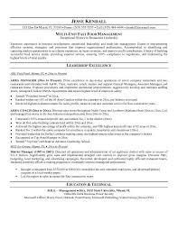 Fast Food Management Resume Resume Sample