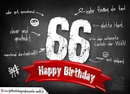 Komplimente Geburtstagskarte Zum 66 Geburtstag Happy Birthday