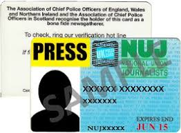 And Union Press Cards National Journalists Of - Membership
